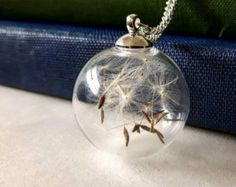 Dandelion Necklace Dandelion Seed Necklace by TheQueenBeeShop