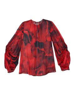 Keyhole-sleeve silk blouse | Alexander McQueen | MATCHESFASHION.COM US