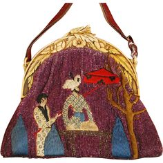 Rare Exotic Far Eastern Figural Beaded Silk Stitched Celluloid Purse