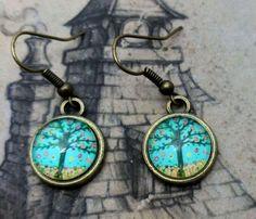 pendientes serie naturaleza - arbol azul  metal,resina artesania
