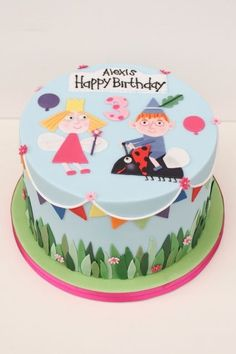 Ben and holly cake Bithday Cake, 3rd Birthday Cakes, Girl 2nd Birthday, Fairy Birthday Party, 2nd Birthday Parties, Ben And Holly Cake, Ben E Holly, Carousel Cake, Paw Patrol Cake