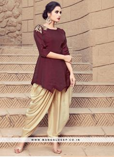 Date brown dhoti salwar kameez with dupatta. satin and modal satin. Matching bottom comes with this. Manish Malhotra Salwar Kameez, Dhoti Salwar Suits, Salwar Suits Pakistani, Patiala Dress, Punjabi Suits, Indian Designer Outfits, Indian Outfits, Indian Dresses, Lehenga Choli