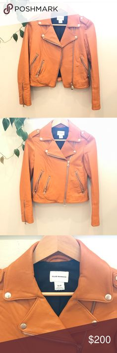 Club Monaco orange moto leather jacket Beautifully crafted orange motorcycle lamb skin leather jacket in XS. It has only been worn twice and decided to let it go. The leather is really soft and the color is of a dusty orange. It's a great piece to spice any outfit! It was purchased originally for over $500. No trade please, and bundle to save 15%! Club Monaco Jackets & Coats