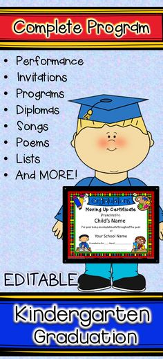 Complete Kindergarten graduation program with diplomas, certificates, instructions, scripts, ideas for props and decorations, carefully chosen poems, (songs - music available from amazon) and so much more. This program is sure to produce smiles, tears and compliments from all!