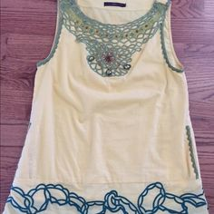 Boutique style yellow jeweled top w pockets,sz S Really cute top from Dillard's. Nice,quality brand. Pretty accents. Only worn a few times. Comes from a smoke free home. Hazel Tops Blouses