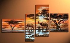Modern Abstract Huge Wall Art Oil Painting On Canvas Elephant  No Framed