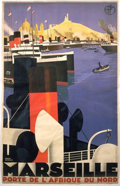 Vintage French Art Deco Port Marseille Ship Poster Reproduction by Roger Broders vintage poster travel Retro Poster, Poster Vintage, Vintage Travel Posters, Poster Poster, French Art, French Vintage, Vintage Art, Vintage Clip, Original Vintage