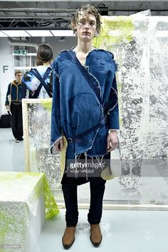 A model poses at the Alex Mullins presentation during The London Collections Men AW16 at Victoria House on January 8, 2016 in London, England.