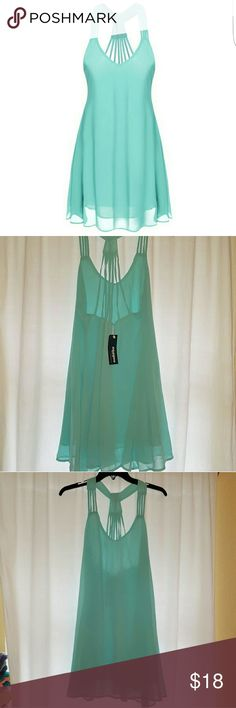 NWT Mint Chiffon Dress Brand new, never worn! Perfect condition with tags. Mint color dress made out of chiffon lightweight material! Size M. Not see through or transparent! No brand. Similar to Charlotte Russe, Buckle, Miss Me, Urban Outfitters, Forever 21, PINK Smoke free home Ships same day or next day Forever 21 Dresses Mini