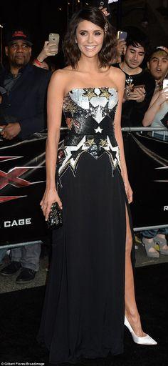 Stunner: Nina, who stars opposite Vin Diesel in the movie, rocked a strapless black gown w...