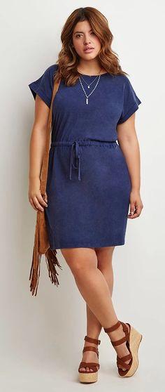 47c9f93b71e7 Plus Size Caged-Back Drawstring Dress Plus Size Summer Fashion