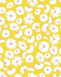 'Pop Daisy' Wallpaper by Wallshoppe - Yellow - Removable Panel - Sample