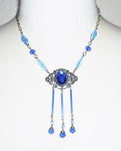 VICTORIAN Necklace CZECH BLUE GLASS Glass Drops Art Deco Silver Plated Signed #Kmeart