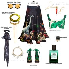 KLEMENTS EGLANTINE SKIRT IN APOCALYPSE, DINOSAUR PRINT, SUNGLASSES SAINT LAURENT, SILK SCARF, KLEMENTS, BOOTS GUCCI, TOP DOLCE&GABBANA, FESTIVAL, WEDDING, GOTHIC, WITCH, BOHO, EDGY, GRUNGE STYLING PHOTOSHOOT IDEAS INSPO.