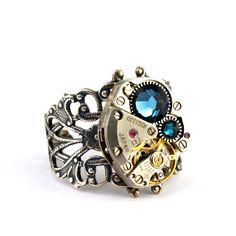 Steampunk Ring - Boldly Bejeweled with Dark Montana Blue Swarovski Crystal