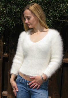 "WOW So Furry Soft 80 Angora Sweater Jumper M 32"" Cream £29 99 
