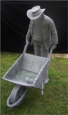 Derek Kinzett Wire Sculptures. THE SECRET GARDENER by Derek Kinzett Wire Sculptures, via Flickr