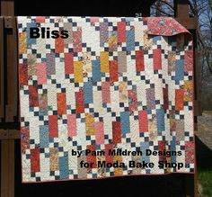 Bliss Quilt. I may have to make this one.  The like how the tiny blocks set off the larger color. Nice pattern!  ❤️ Jelly Rolls!
