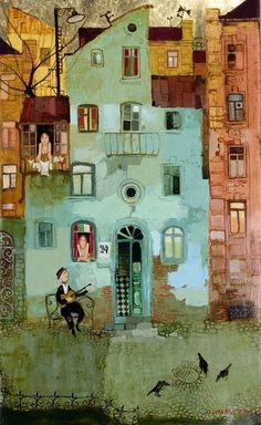 the dance of the soul :) Serenade: Otar Imerlishvili. Art and illustration Art And Illustration, Art Fantaisiste, Arte Popular, London Art, Naive Art, Whimsical Art, Painting & Drawing, Illustrators, Folk Art