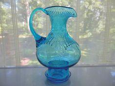Tiara Indiana Glass Horizon Blue Hurricane Pitcher Vase #IndianaGlass