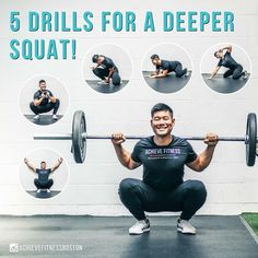 Five Drills for a Deeper Squat Dead Lift Workout, Lifting Workouts, Weight Training Workouts, At Home Workouts, Squat Technique, Ankle Mobility, Deep Squat, Back Squats, Gym Routine