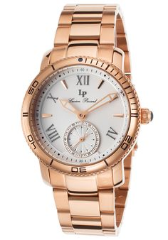 Transitional women's timepiece is sleek and appealing with a handsome round shaped case -