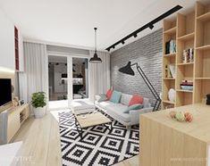 KONTRASTY - Średni salon z kuchnią, styl nowoczesny - zdjęcie od INVENTIVE studio