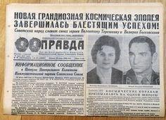 Russian PRAVDA newspaper 1963 Soviet Russia Tereshkova FIRST WOMAN IN SPACE Landing, Russian Newspaper