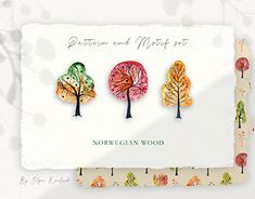 Autumn forest with clear blue sky or with darker colors in twilight. Vibrant and clear colours all around! This watercolor set inspired by autumn norwegian Graphic Design Pattern, Graphic Patterns, Print Patterns, Print Design, Autumn Forest, Autumn Trees, Halloween Fonts, Leaf Clipart, Norwegian Wood