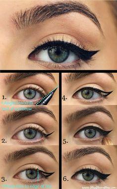 Makeup Tutorial Eyeliner, No Eyeliner Makeup, Makeup Dupes, Smokey Eye Makeup, Skin Makeup, Makeup Cosmetics, Simple Eyeliner Tutorial, Doll Eye Makeup, Eye Makeup Steps