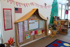 "This is the main part of the classroom where we do calendar/circle time.  I went to a discount fabric store and built this ""tent"" with 3 yards of fabric.  I used small L shaped brackets to hold the tent up.  To keep it simple, I made my own alphabet ""banner"" to hang above the tent."