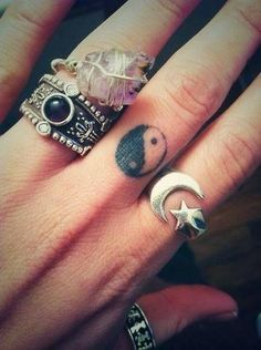 Some silver with stone jewels  moon star- ying yang tattoo
