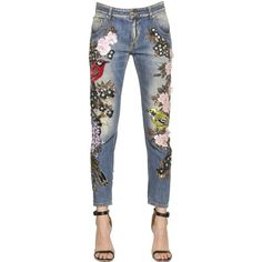 Amen Women Couture Embellished Cotton Denim Jeans (7,255 AED) ❤ liked on Polyvore featuring jeans, pants, distressing jeans, white destroyed jeans, destroyed jeans, torn jeans and faded jeans
