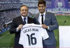 Lucas Silva was all smiles as he was unveiled as a Real Madrid player on Monday afternoon ...