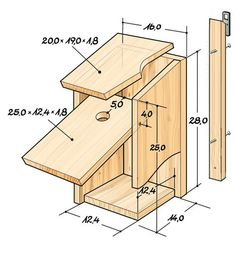 Vogelhaus selber bauen: Anleitung You are in the right place about DIY Birds art Here we offer you t Bird Feeder Plans, Bird House Feeder, Bird Feeders, Homemade Bird Houses, Bird Houses Diy, Kitchen Life Hacks, Bluebird House, Bird House Plans, Bird Boxes