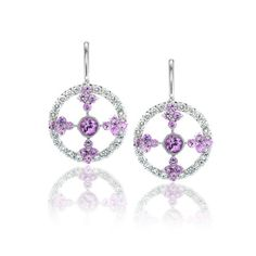 Pink Sapphire and Diamond Earrings // J.M. Edwards Jewelry // Cary, NC