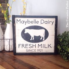 Farmhouse Dairy Sign Fresh Milk Cow sign by TheCreativePallet