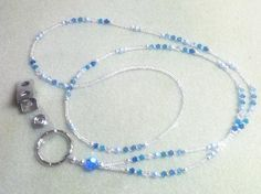 Ice Blue Crystal Lanyard/ID Badge Holder