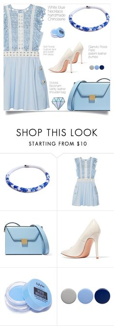 """""""Monochorme: blue!"""" by samra-bv on Polyvore featuring self-portrait, Victoria Beckham, Gianvito Rossi, NYX, Burberry and Unicorn Lashes"""