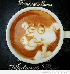 café decorado con la pantera rosa