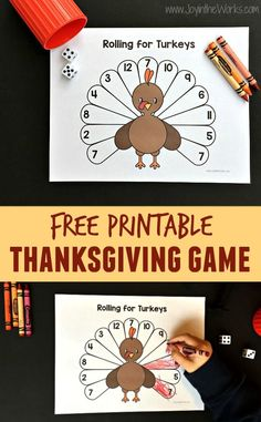 A fun printable Thanksgiving game for school or home! Rolling for Turkeys is a printable Thanksgiving game where you roll and color the turkey feathers until it is all filled in! Crafts Rolling for Turkeys: A Printable Thanksgiving Game - Joy in the Works