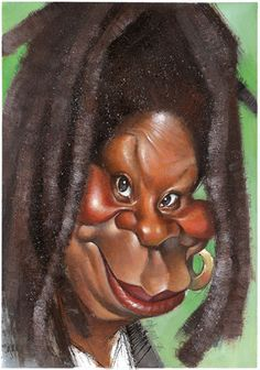 Caricature of  Whoopy Goldberg, illustrated by Vizcarra