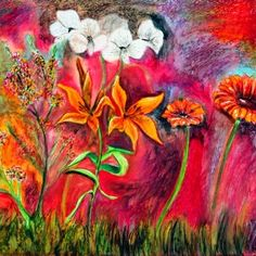 flower art paintings ideas with red theme painting for your wall and home accessories