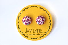 Jewel Toned Polka Fabric Button Earrings by IvyLaneAccessories, $4.95