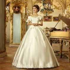 Vintage Off the Shoulder Beading Embroidery Bowknot Floor Length Wedding Dress £85.99