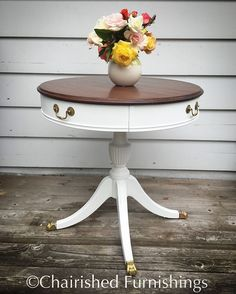 Repainted this gorgeous table in Bright White #valspar. Top stained in English Chestnut. $250 #shoplocal #portland #chalkpaint #chalkpaintedfurniture #drumtable #vintage #etsy #youneedthis