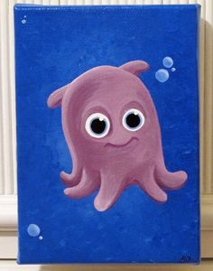 Finding Nemo - Pearl the Octopus. Incorporate into nursery if its a girl for some more girly color options Disney Canvas Paintings, Disney Canvas Art, Small Canvas Art, Cute Paintings, Mini Canvas Art, Acrylic Painting Canvas, Disney Art, Octopus, Painting Art