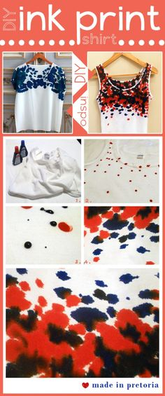 1.Supplies: stamp ink and a shirt   2.Drop ink randomly on the shirt   3.Let the droplets soak in   4.Once you are happy with the look, wash it in cold water to set the colour!