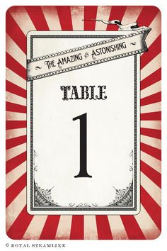 20 - Vintage-Retro Table Numbers - Two Ring Circus - Green Apple (Sale). $30.00, via Etsy.