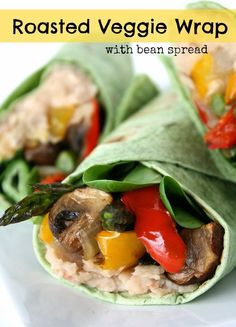 Roasted Veggie Wrap with Bean Spread. A delicious, vegan, filling meal that's easy to customize!